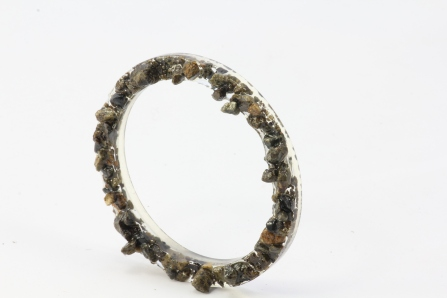 """Water Rising"" Resin & Found Stones Bangle or Necklace component"