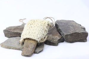 Pocket Full of Stones Necklace in welsh handspun wool and slate